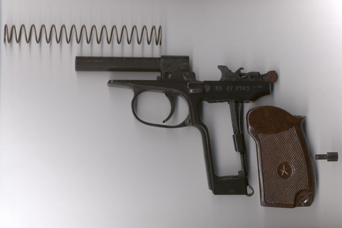 Pistole Makarov 9 mm - Handgriff mit Schraubenzieher entfernen